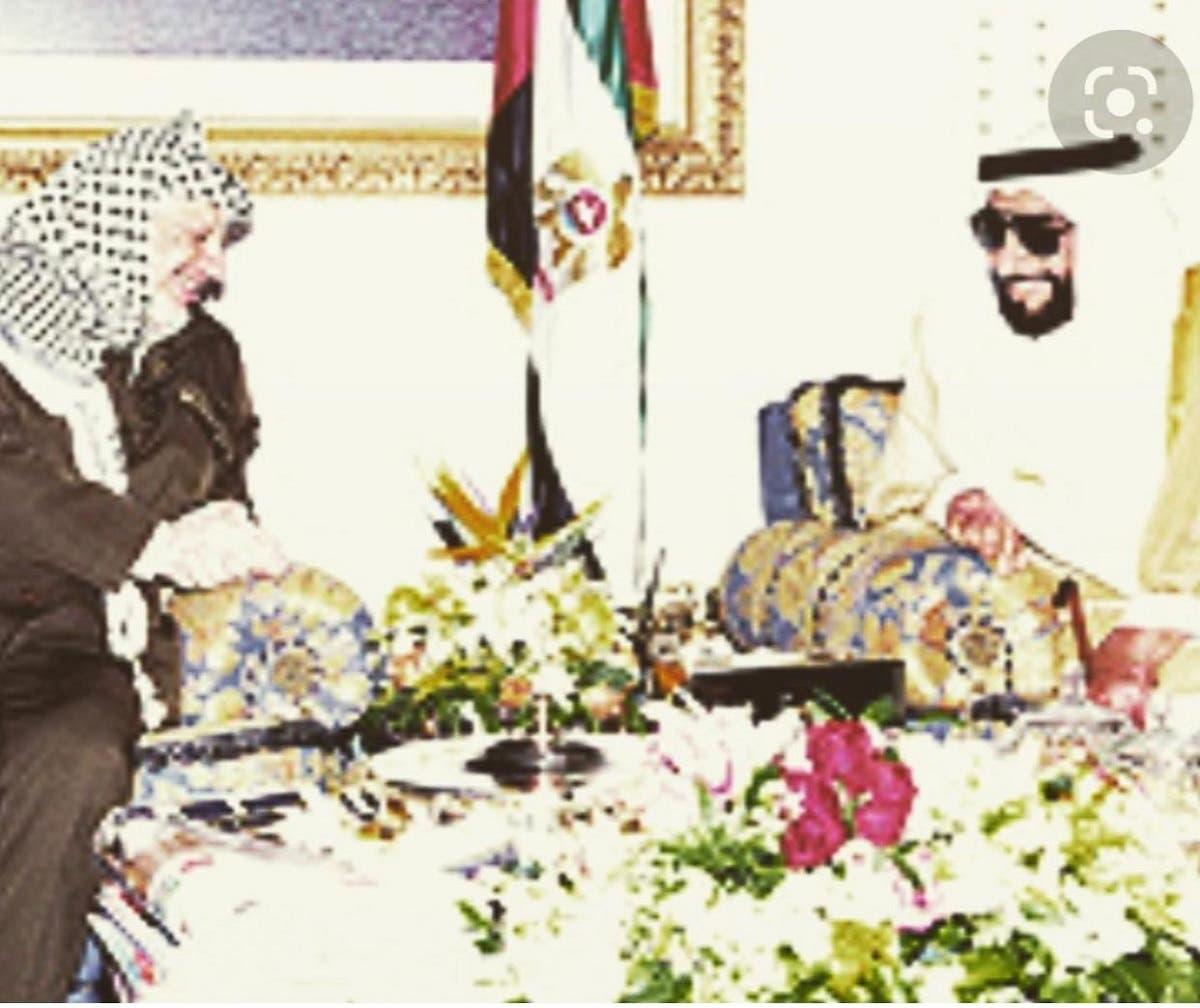 Late Palestinian President Yasser Arafat with late UAE ruler Sheikh Zayed bin Sultan Al Nahyan. (Instagram)