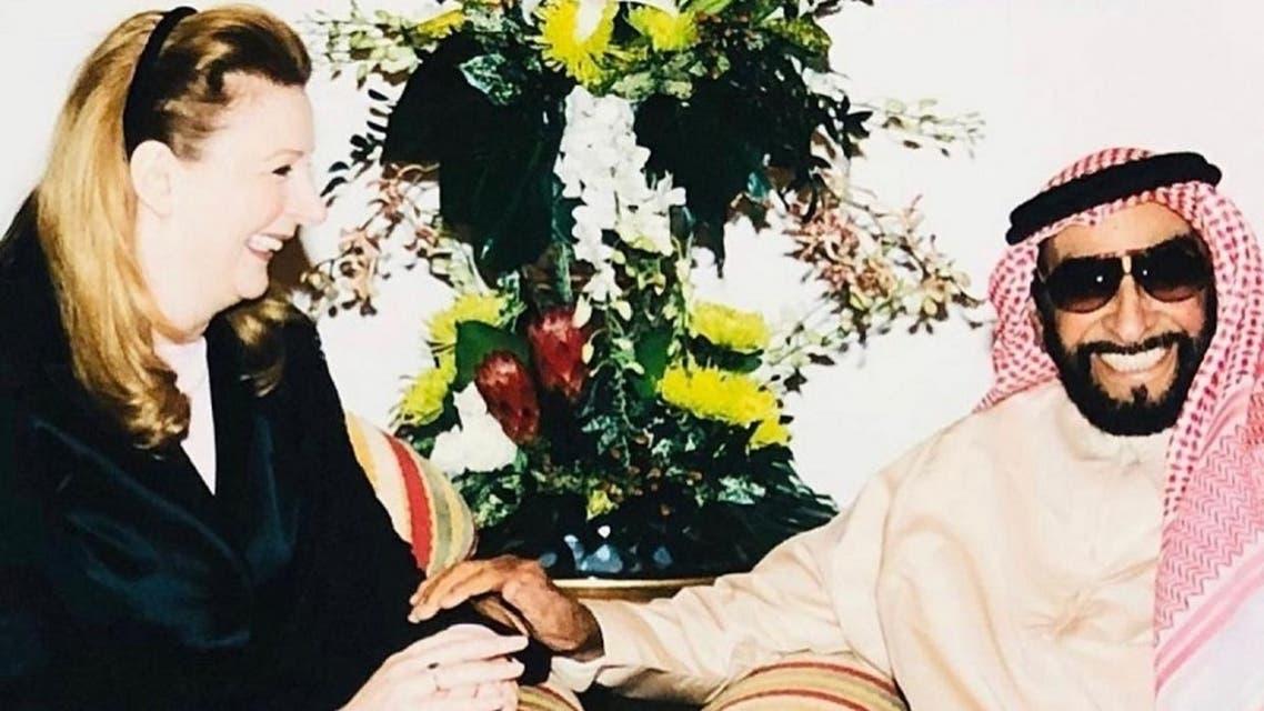 Suha Arafat with late UAE ruler Sheikh Zayed bin Sultan Al Nahyan. (Instagram)