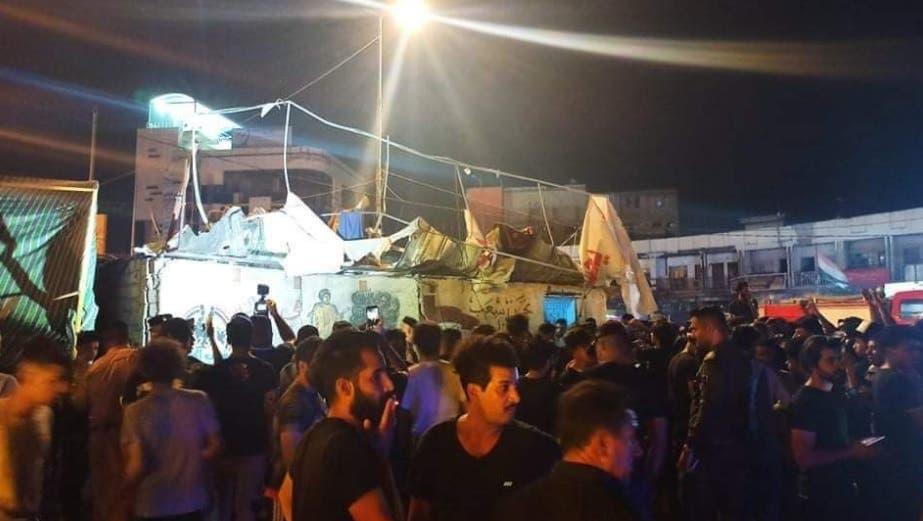 من موقع الحادث في ساحة الحبوبي بالناصرية جنوب العراق