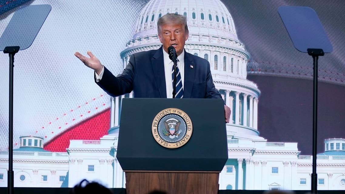 US President Donald Trump speaks to the 2020 Council for National Policy Meeting, Aug. 21, 2020, in Virginia. (AP)