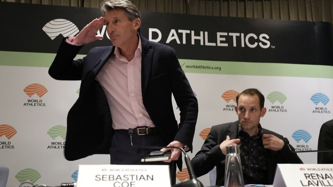 IAAF President Sebastian Coe during a press conference at the World Athletics Council meeting in Monaco on November 22, 2019. (Reuters)