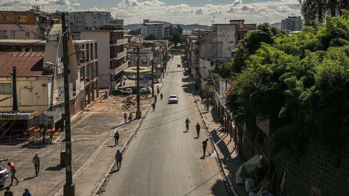A general view of Behoririka, one of Antananarivo's main shopping areas, in Antananarivo, Madagascar, March 25, 2020. (AFP)