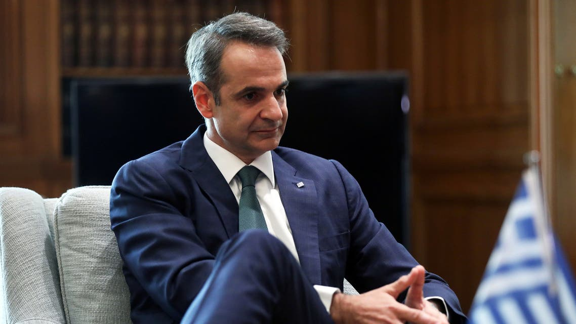 Greek Prime Minister Kyriakos Mitsotakis gestures as he meets with German Foreign Minister Heiko Maas at the Maximos Mansion in Athens, Greece, July 21, 2020. REUTERS/Costas Baltas