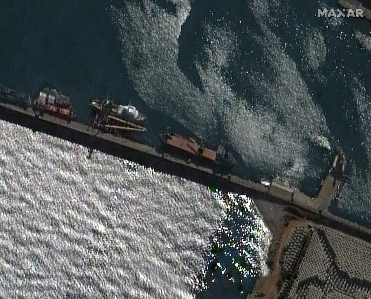 The Rhosus ship is seen docked at the Port of Beirut, Lebanon, in this November 21, 2013 satellite image provided by Maxar Technologies.