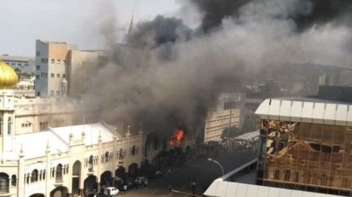 A fire at South Africa's 139-year-old Grey Street Mosque. (Social Media)