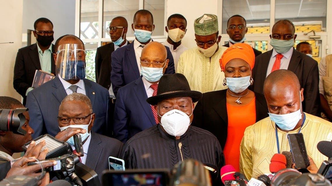 Nigeria's former President Goodluck Jonathan speaks to media after the meeting with Mali's junta following the coup in Bamako. (Reuters)