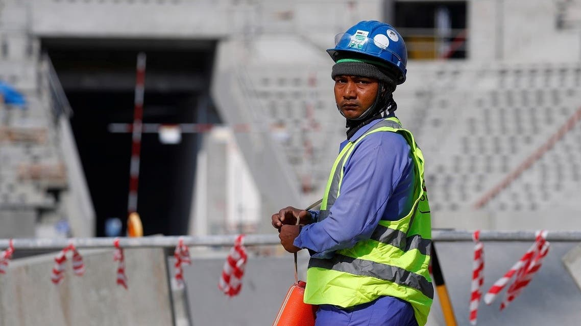 A worker is seen inside the Lusail stadium which is under construction for the upcoming 2022 FIFA World Cup. (Reuters)