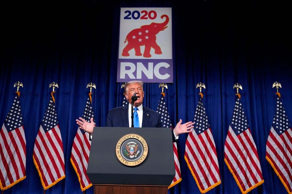 US President Donald Trump speaks on stage during the first day of the Republican National Committee convention, Aug. 24, 2020. (AP)