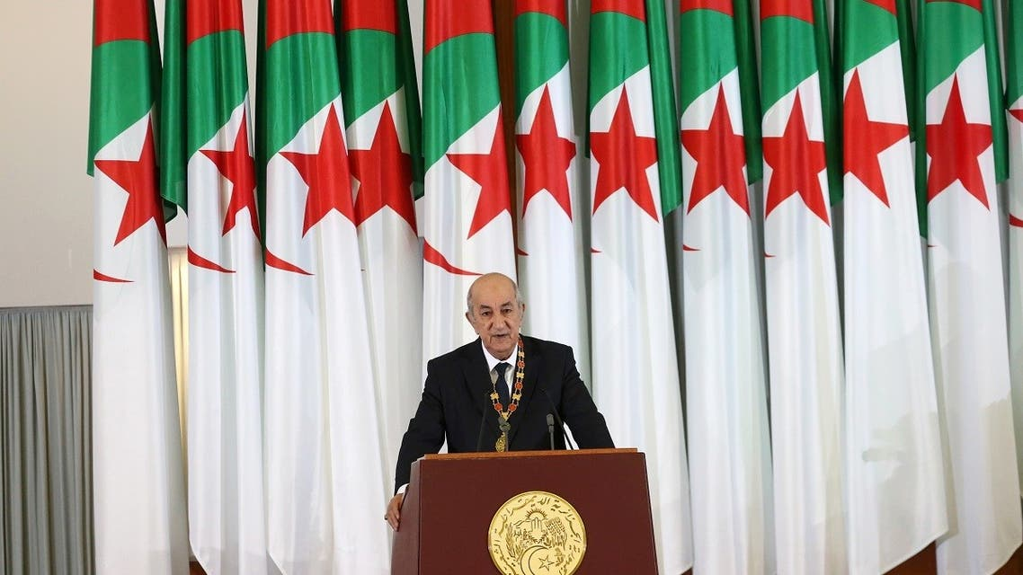 Newly elected Algerian President Abdelmadjid Tebboune delivers a speech during a swearing-in ceremony in Algiers. (Reuters)