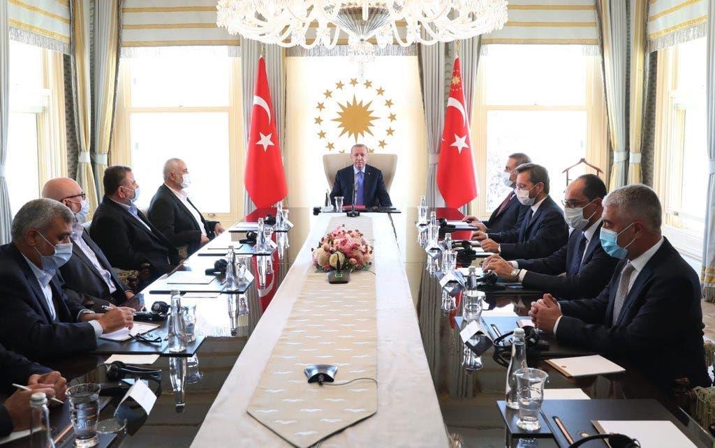 Turkish President Recep Tayyip Erdogan recently met with Hamas leaders despite a $5 million US bounty and terror designations on them. (Supplied)
