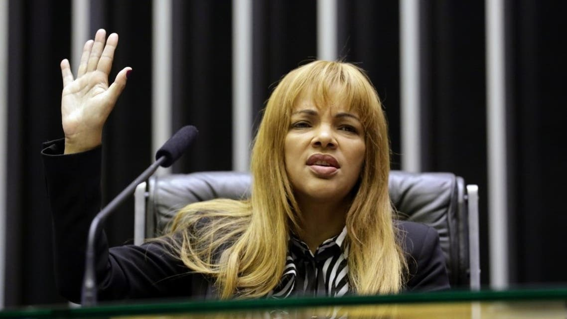 Congresswoman Flordelis dos Santos de Souza during a ceremony at the Brazilian Deputies Chamber in Brasilia, on May 22, 2019. (AFP)