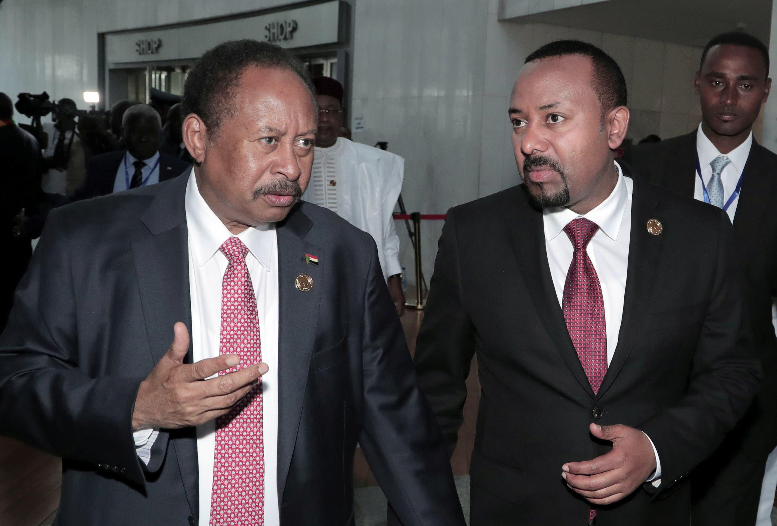 لقاء سابق بين آبي أحمد ورئيس الحكومة السوداني عبدالله حمدوك في أديس أبابا في فبراير الماضي
