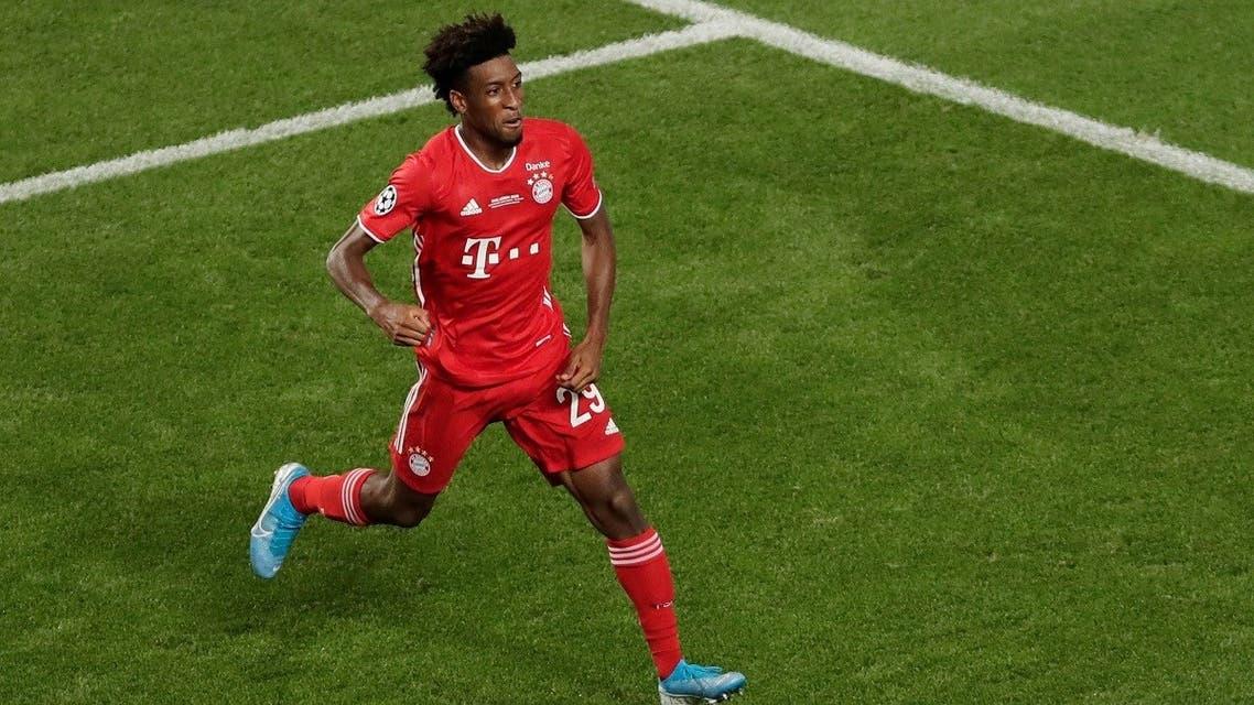 Bayern Munich's Kingsley Coman celebrates scoring their first goal. (Reuters)