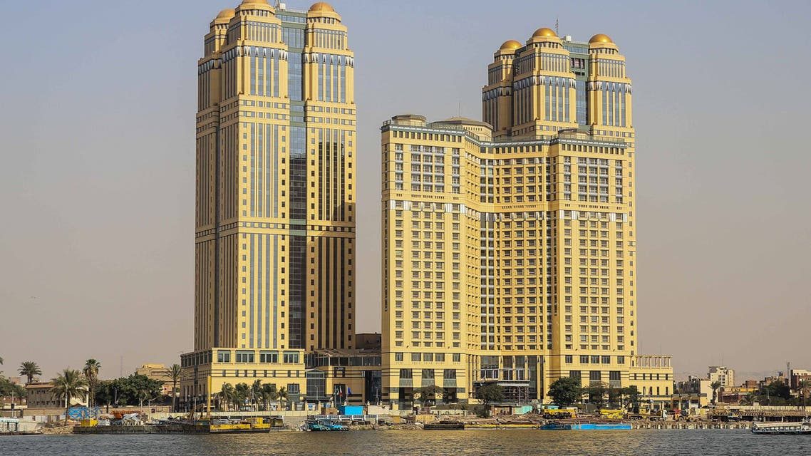 A general view taken on July 30, 2020 shows the five-star Fairmont Nile City hotel, where an alleged sexual assault took place in 2014, in the Egyptian capital Cairo. A gang rape allegation at a luxury hotel in Egypt stemming from a prominent social media account has triggered a new #MeToo wave in the deeply conservative country. The alleged assault took place at the five-star Fairmont Nile City hotel in Cairo in 2014 where a group of six men drugged and raped a young woman, according to several social media accounts