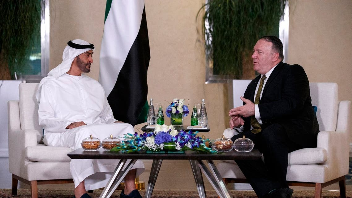 Abu Dhabi Crown Prince Sheikh Mohammed bin Zayed Al Nahyan meets US Secretary of State Mike Pompeo on June 24, 2019, in Abu Dhabi. (File photo: AP)