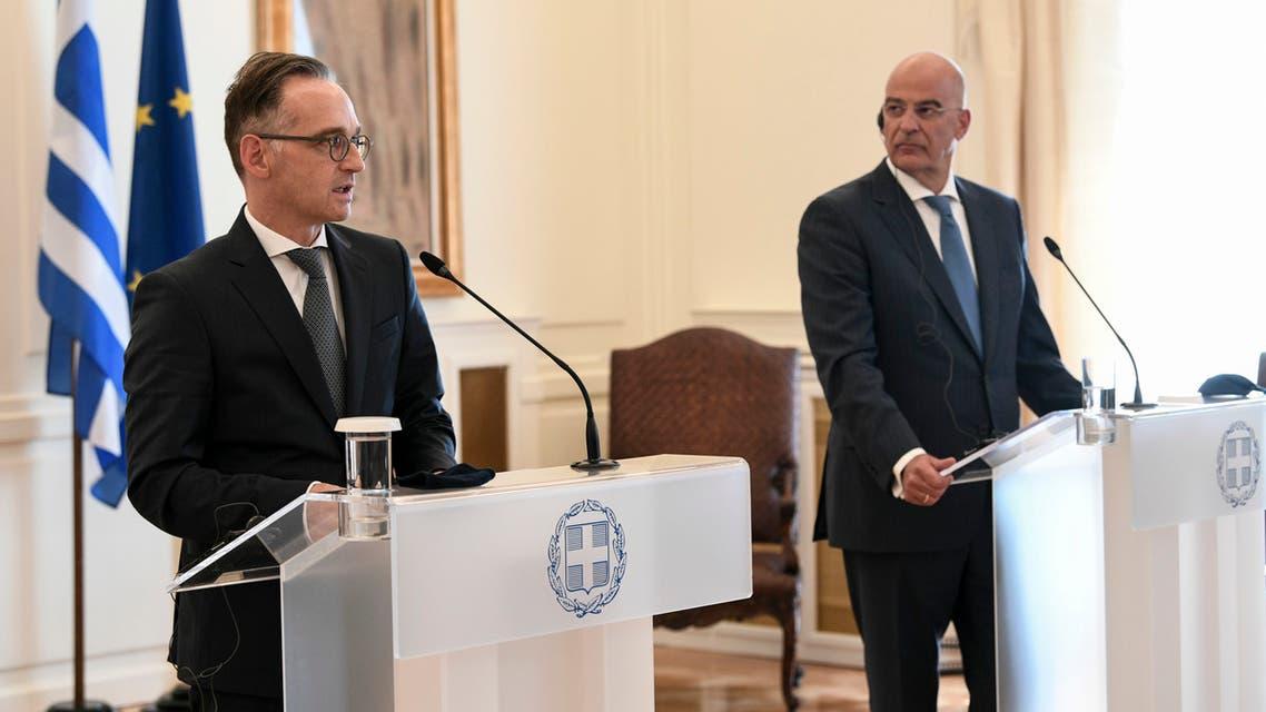 وزير الخارجية الألماني هايكو ماس ونظيره اليوناني (أرشيفية- فرانس برس)