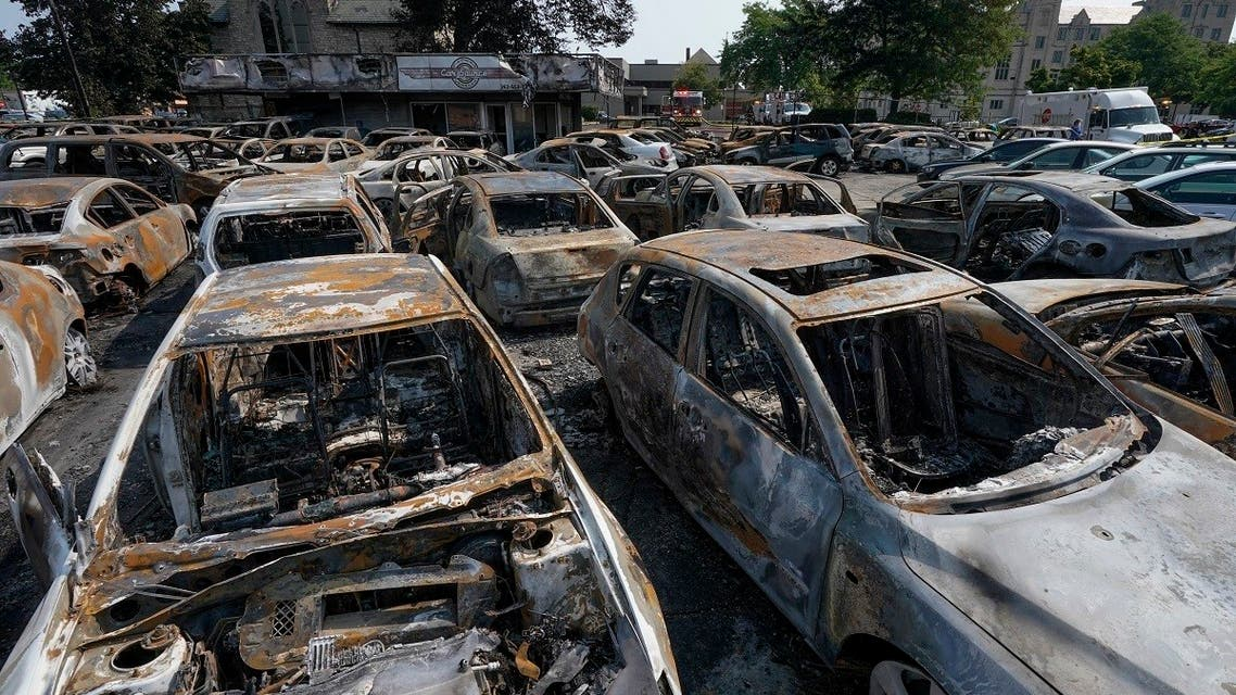Burned out vehicles are seen Aug. 24, 2020, in Kenosha, Wisconsin after protests against a police shooting in the city. (AP)