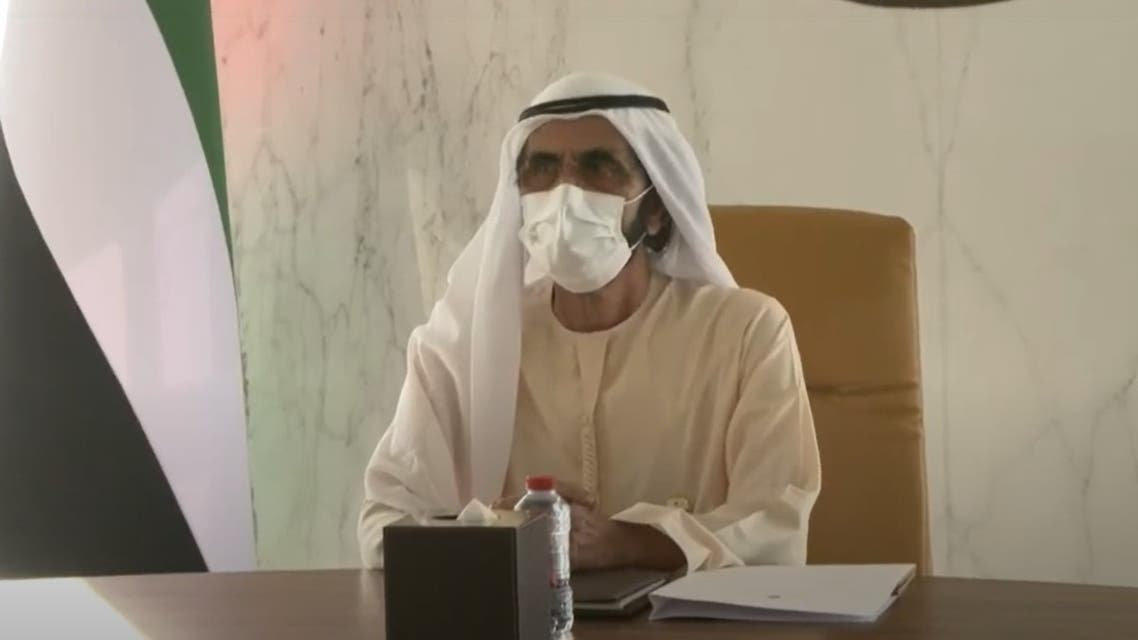 A screengrab of Dubai's ruler during the presentation of preparations for the new academic year, August 25, 2020, Dubai, UAE. (Courtesy/WAM)