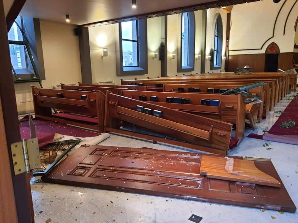 The interior of the Protestant church in Beirut is shown after the Beirut port explosion. (Supplied)