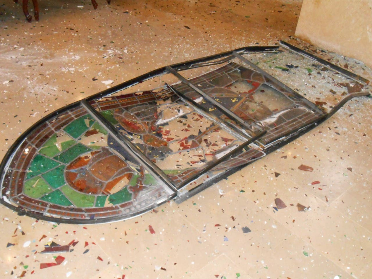 A destroyed stain glass window is shown in Beirut's St. Louis Cathedral after the deadly explosion at the Beirut port August 4. (Supplied)
