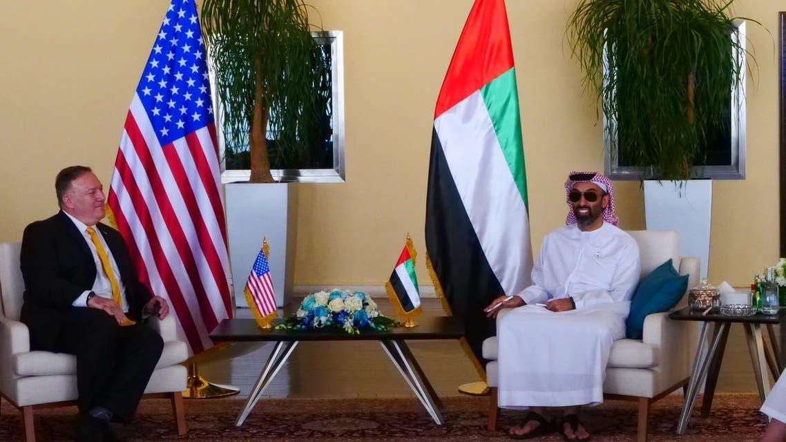US Secretary of State Mike Pompeo, left, with National Security Advisor Sheikh Tahnoun bin Zayed Al Nahyan. (Twitter @SecPompeo)