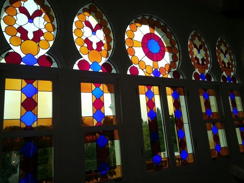 The now blown-out windows at the Sursock Museum are shown before the Beirut port explosion destroyed them. (Supplied)