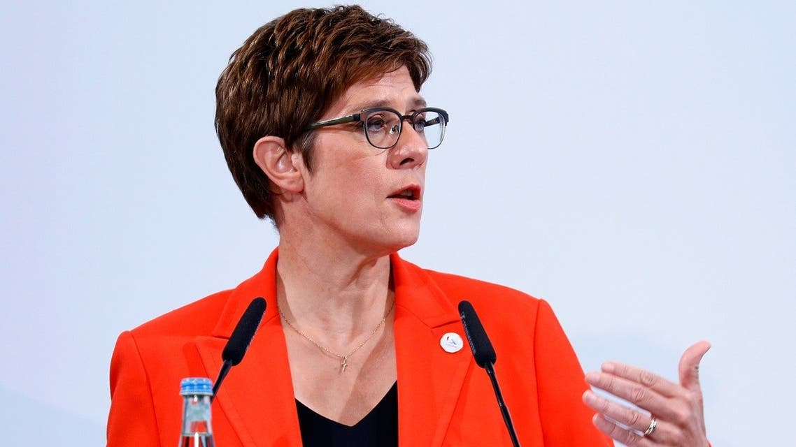 German Defense Minister Annegret Kramp-Karrenbauer speaks during a news conference after a meeting with the EU's defense ministers, August 26, 2020 in Berlin, Germany. (AFP)