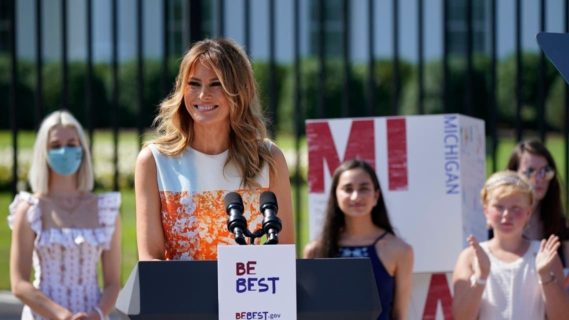 First Lady Melania Trump during a celebration of the 100th anniversary of the 19th amendment which afforded the vote to women, at the White House, Aug. 24, 2020. (AP)