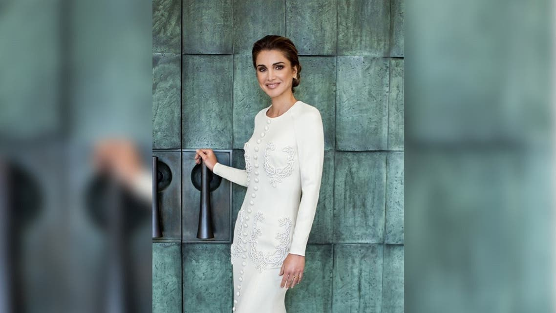 Jordan's Queen Rania in a dress by Saudi Arabia designer label Ashi Studio. (Supplied)