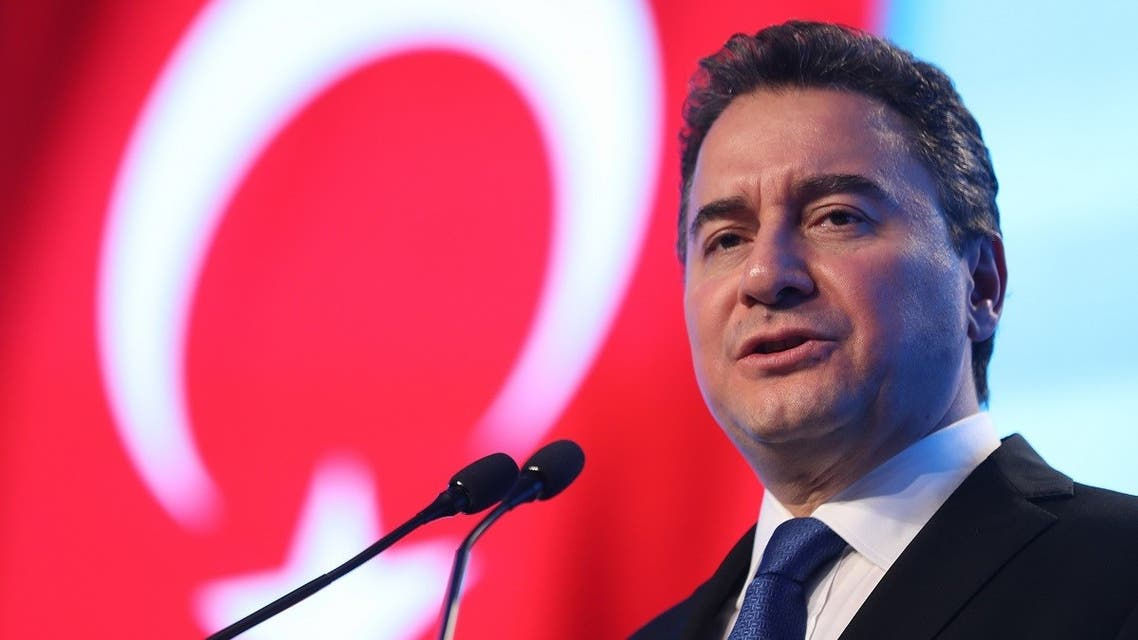 Ali Babacan, former Turkish minister and erstwhile ally to the Turkish President, presents his Democracy and Progress Party -- whose Turkish initials DEVA mean 'remedy' -- at a launching ceremony in the capital Ankara on March 11, 2020. (AFP)
