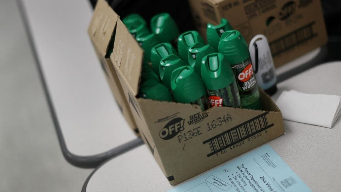 Cans of mosquito repellent are seen as the Florida Department of Health gives free Zika virus tests at a temporary clinic setup at the Miami Beach Police Department on September 13, 2016 in Miami Beach, Florida. (File photo: AFP)