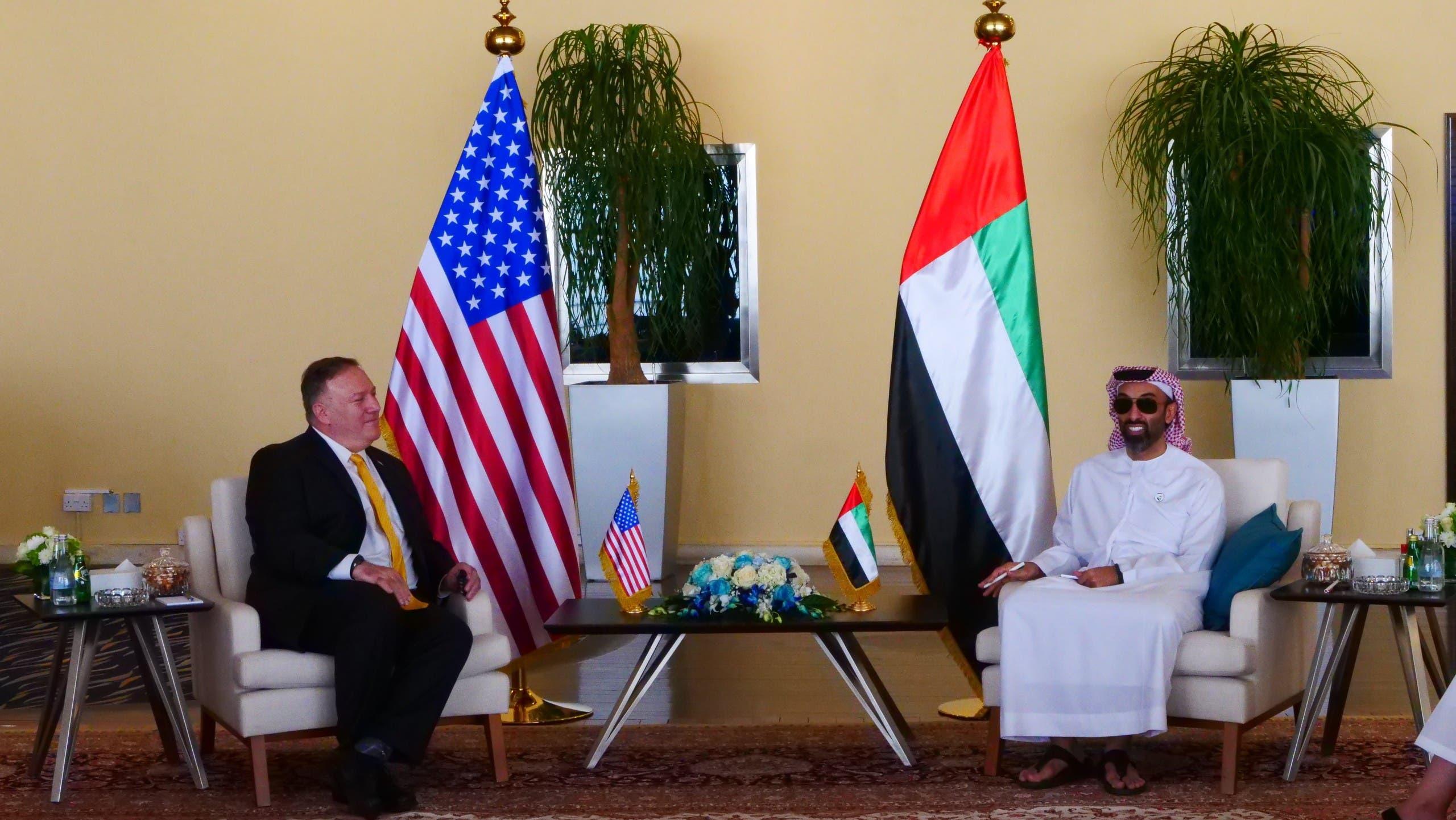 مايك بومبيو يلتقي مستشار الأمن الوطني الإماراتي الشيخ طحنون بن زايد