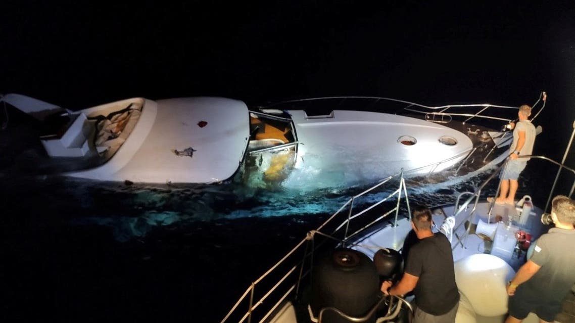 A boat is seen sunken during a search and rescue operation by the Greek authorities near the island of Halki, Greece, in this undated handout image obtained by Reuters on August 26, 2020. (Reuters)