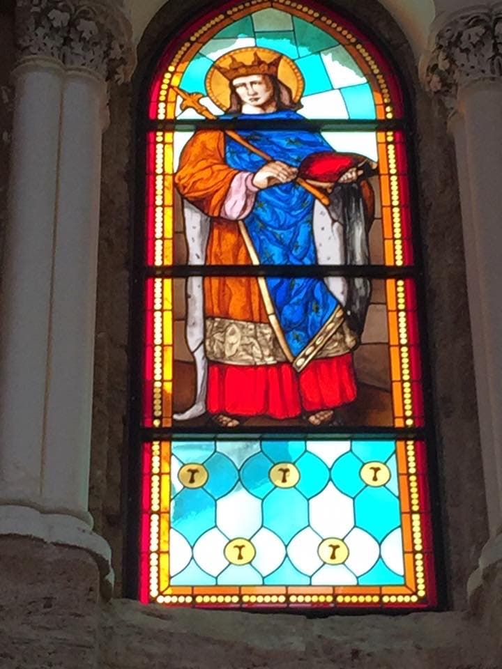 A now-destroyed stained glass window is shown at Beirut's St. Louis Cathedral before the explosion at the Beirut port. (Supplied)