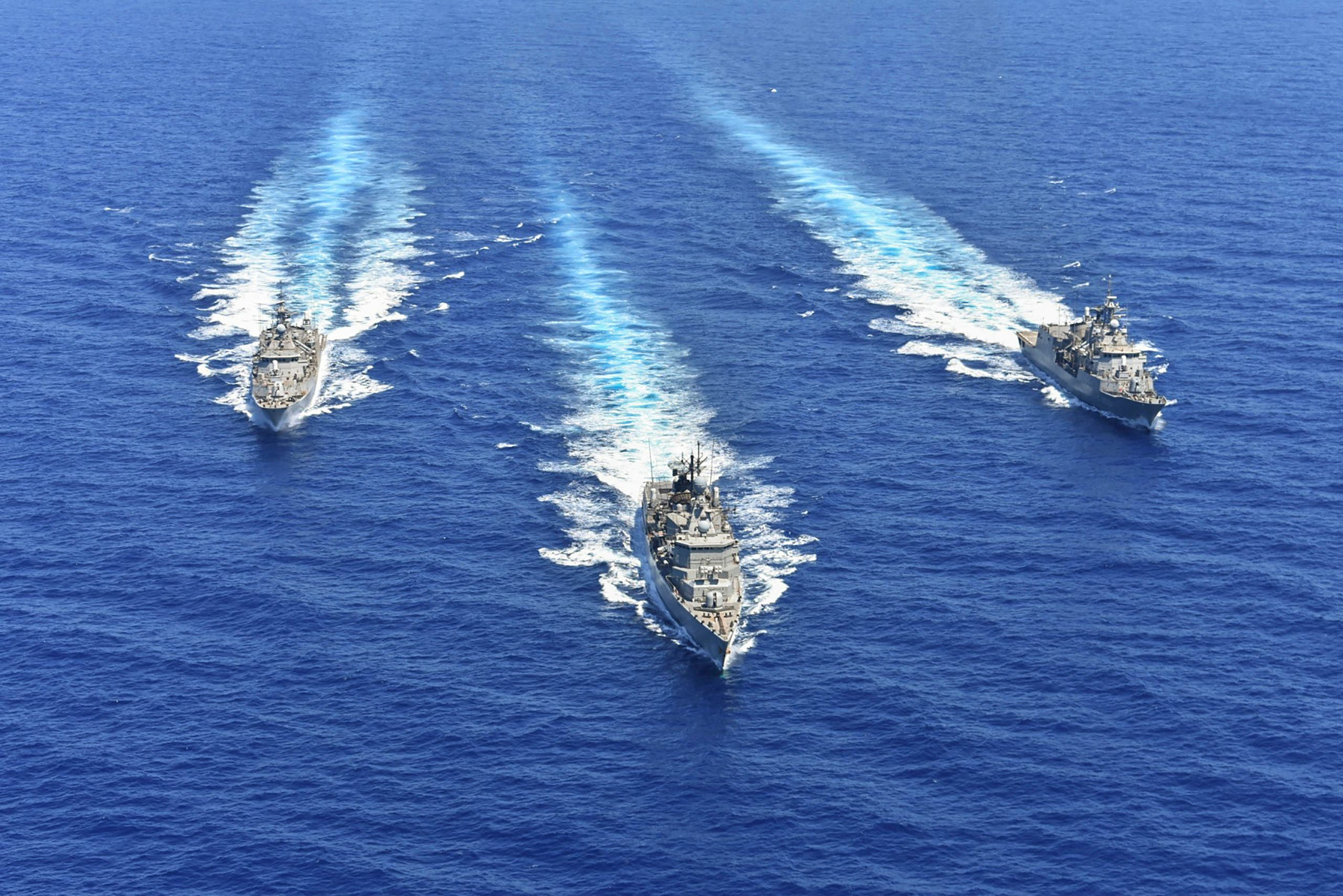 A handout photo released by the Greek National Defence Ministry on August 26, 2020 shows ships of the Hellenic Navy taking part in a military exercise in the eastern Mediterranean Sea, on August 25, 2020.