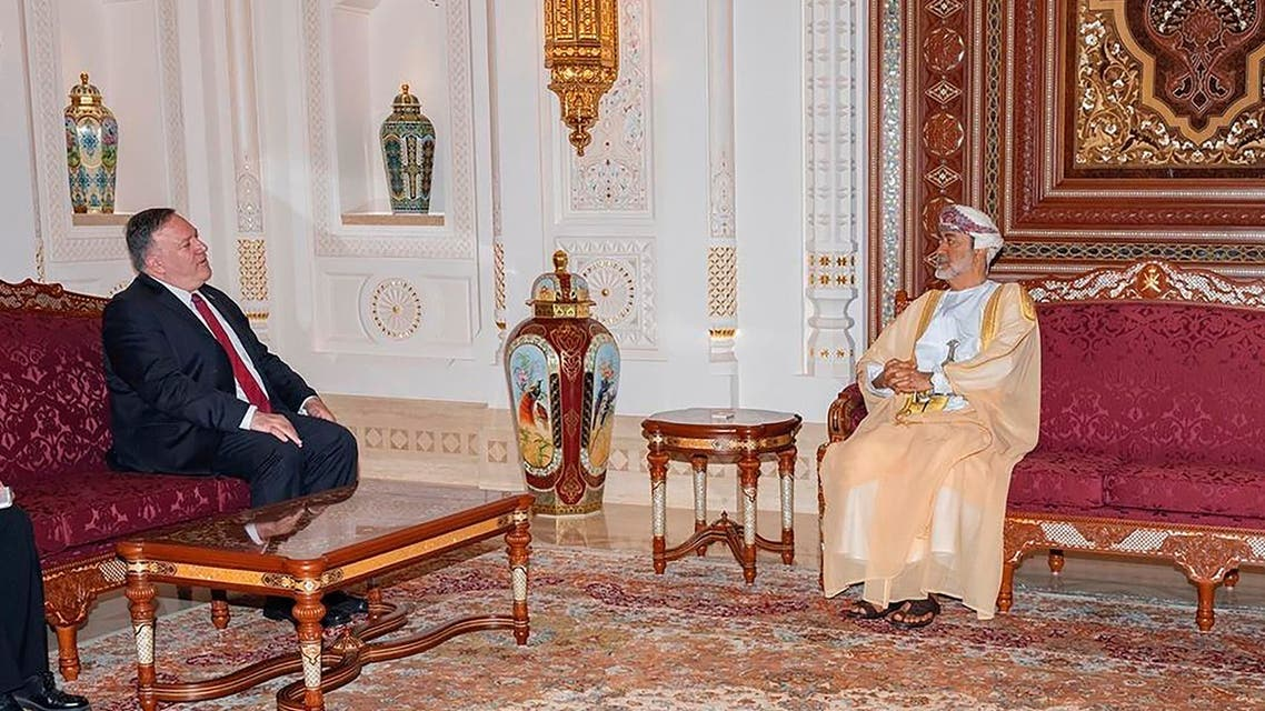 US Secretary of State Mike Pompeo, left, meets with Oman's Sultan Haitham bin Tariq in Muscat on Aug. 27, 2020. (AP)