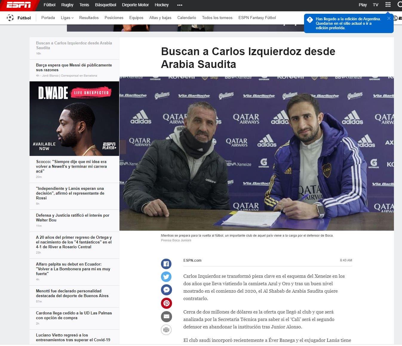 الخبر في موقع الشبكة الإسبانية