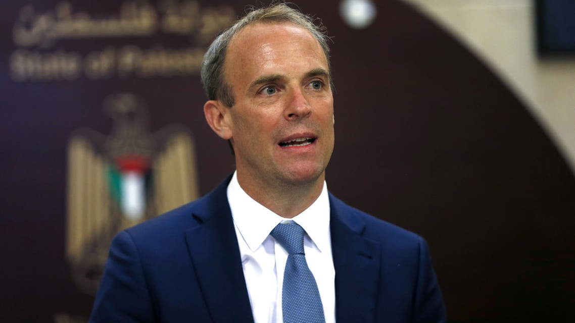 British Foreign Secretary Dominic Raab speaks during a joint news conference with Palestinian Prime Minister Mohammad Shtayyeh (not pictured) in Ramallah, in the Israeli-occupied West Bank August 25, 2020. Alaa Badarneh/Pool via REUTERS