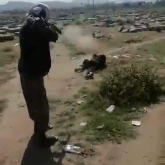 شاهد.. إعدام شاب يمني داخل مقبرة سلمه الحوثيون لخصومه