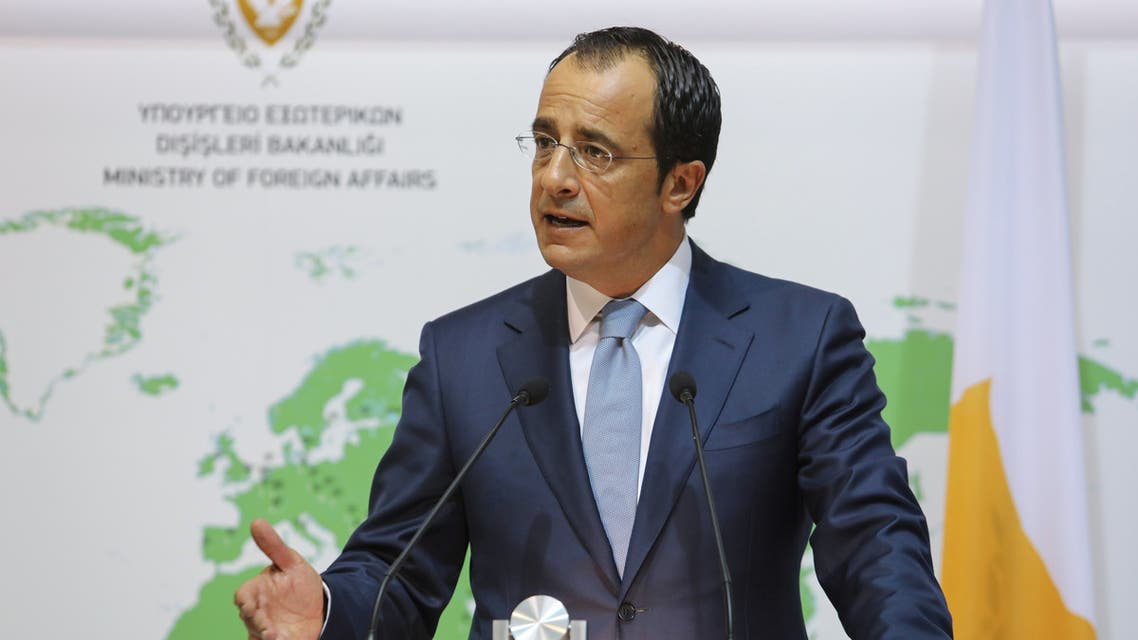 Cypriot Foreign Minister Nikos Christodoulides speaks during a news conference at the Foreign Ministry in Nicosia, Cyprus, August 18, 2020. REUTERS/Yiannis Kourtoglou