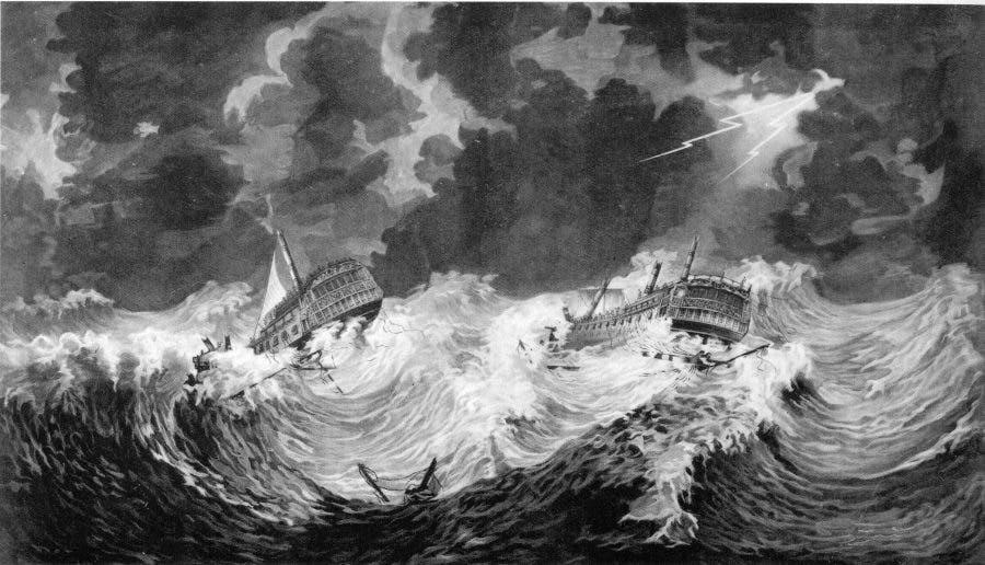 لوحة تجسد معاناة السفن البريطانية خلال اعصار عام 1780