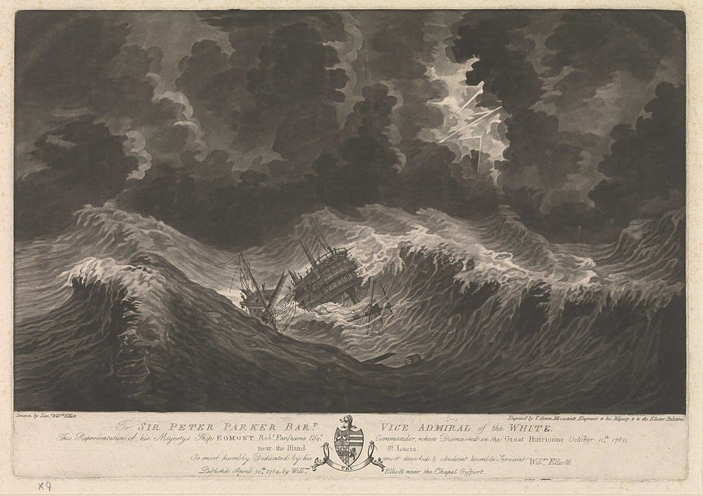 صورة تجسد خراب احدى السفن البريطانية بسبب الإعصار