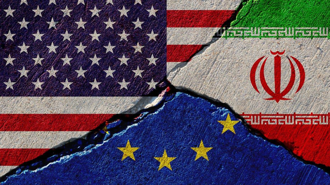 أعلام إيران الاتحاد الأوروبي أميركا أوروبا
