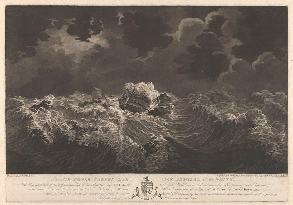 لوحة تجسد خراب وغرق السفينة البريطانية ستيرلنغ كاستل خلال الإعصار