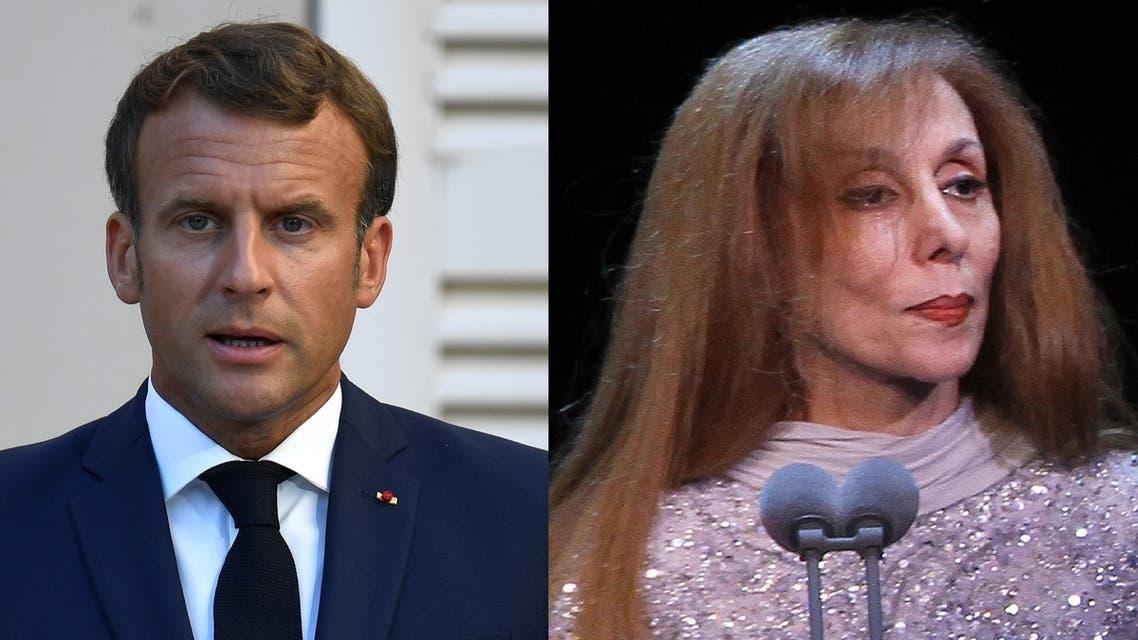 French President Emmanuel Macron, left, and Lebanese singer Fairuz. (AFP)