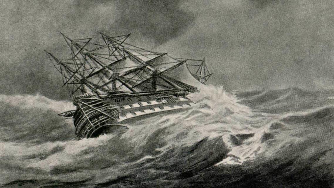 رسم تخيلي يجسد معاناة احدى السفن مع اعصار بعرض المحيط الأطلسي (1)