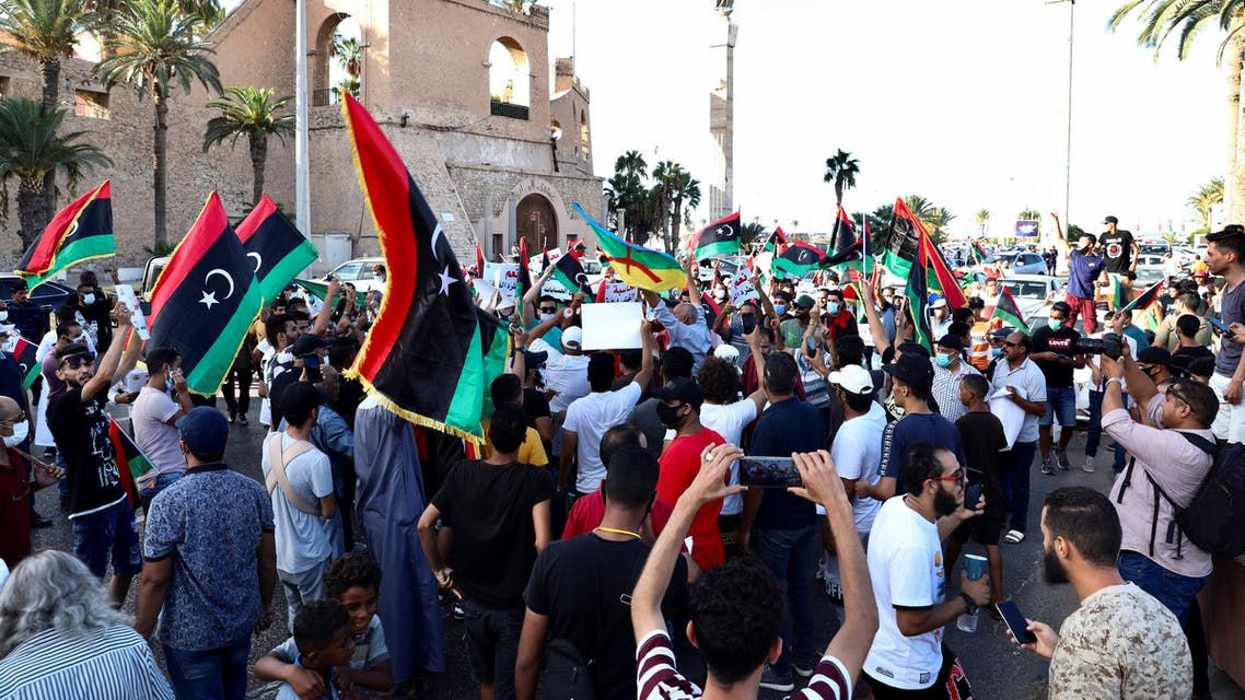 Demonstrators march during an anti-government protest in Tripoli, Libya, August 25, 2020. REUTERS/Hazem Ahmed NO RESALES. NO ARCHIVES