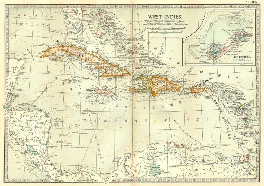 خريطة تجسد مناطق الأنتيل في حدود مطلع القرن 19