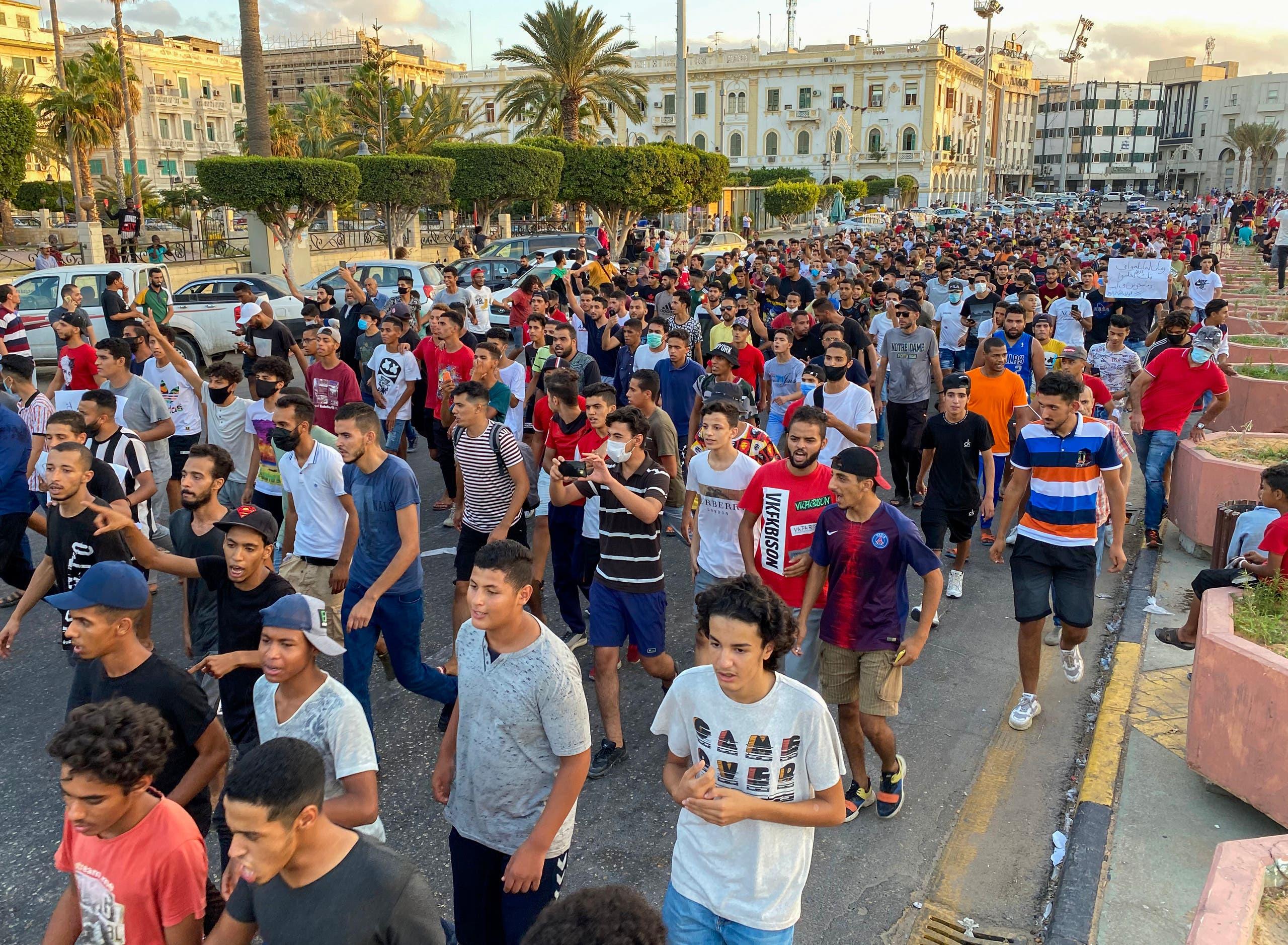 من الاحتجاجات في طرابلس