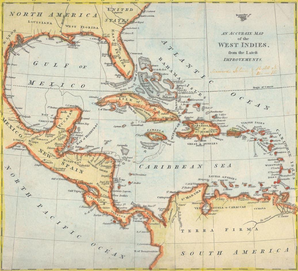 خريطة قديمة لخليج المكسيك وبحر الكاريبي